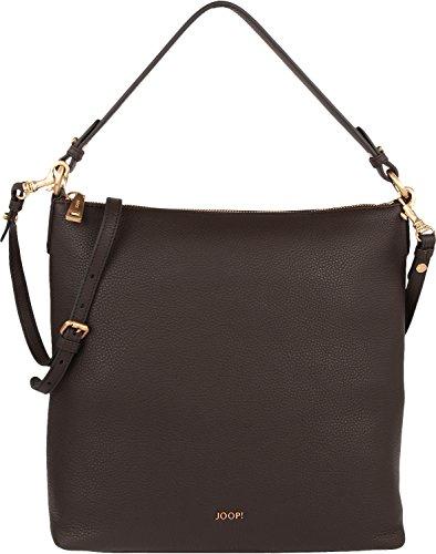 JOOP! Leder-Shopper Estia | hochwertige Leder-Handtasche mit Reißverschluss | dunkelbraune Henkeltasche mit zusätzlichem Gürtel
