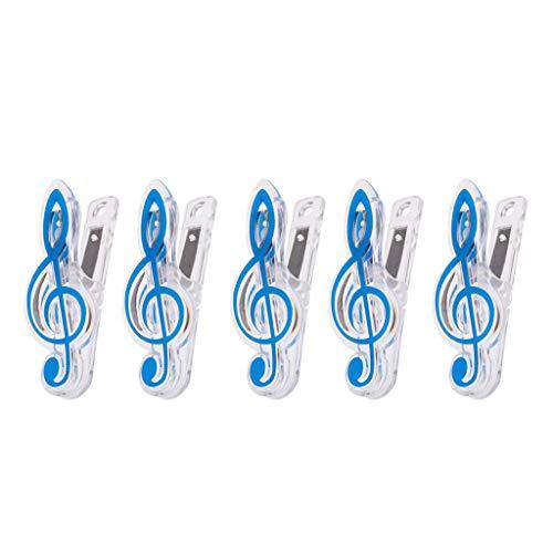 Notenklammern, Kunststoff, Notenschlüssel, 5 Stück blau