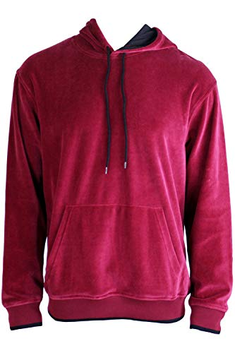 Velour Hooded Sweatshirt (X-Large, Burgundy)
