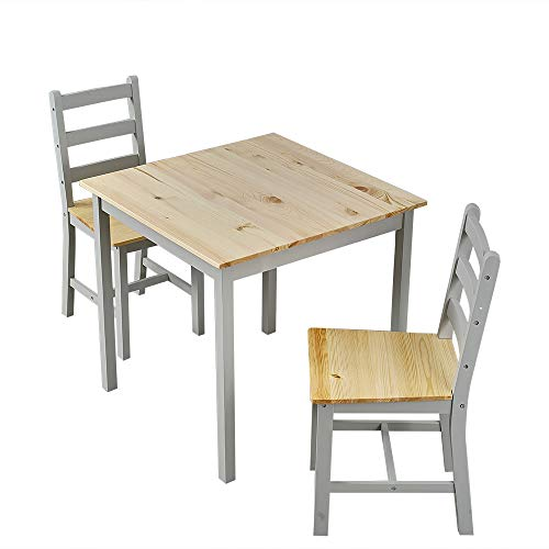 Panana Wooden Dining Table Set With 2 Chairs in Choice of Colours Dining Room Furniture Set (Natural with Grey)