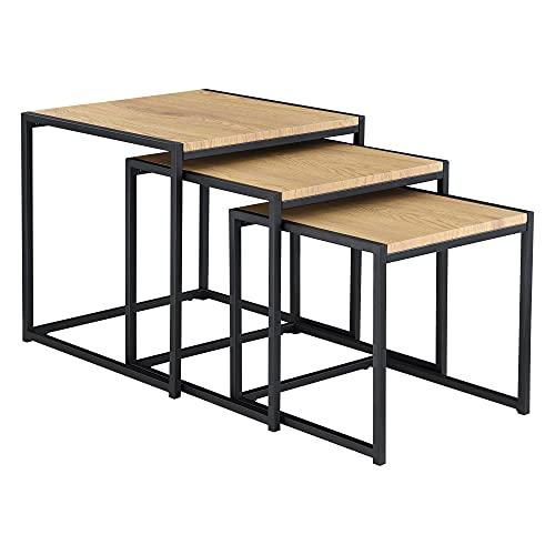 Set de 3X Mesa de Centro Ringsaker En Diferentes Medidas Mesa de Salón Juego de Mesas Auxiliares Mesa Baja Mesa de Café o Té Color Roble y Negro