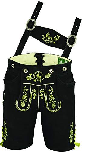Erstklassige echt Leder bayerische Trachten Lederhose Herren kurz, Damen Trachtenlederhose aus Wildbock mit Träger in Schwarz (50)