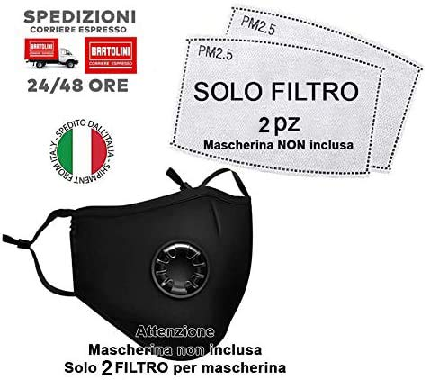 VENEZIANO Mascherine protettive da Ciclismo Solo Filtro, Respiratore per Maschera Antipolvere, Filtro Mascherina Protettiva (Solo Filtro 2 Pz Senza Mascherina)