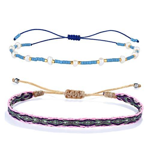 KELITCH 2 Pièces/Ensemble Bracelets à Brins Faits À La Main Bracelets en Perlés De Perle Miyuki Coloré D'empilables Bijoux De Mode