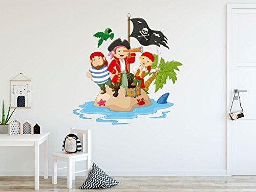 Vinilo Decorativo para Pared Isla Piratas y Tesoro   Varias Medidas 100x100cm   Pegatina Adhesiva Decorativa de Diseño Elegante