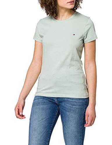 Tommy Hilfiger New Crew Neck tee Camiseta sin Mangas para bebés y niños pequeños, Jade Delicado, S para Mujer