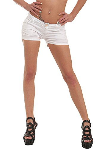 Fashion4Young 10021 Damen Sexy Stretch-Denim Hotpants Short Kurze Hose verfügbar in 5 Gr. 6 Farben (L = 40, Weiß)