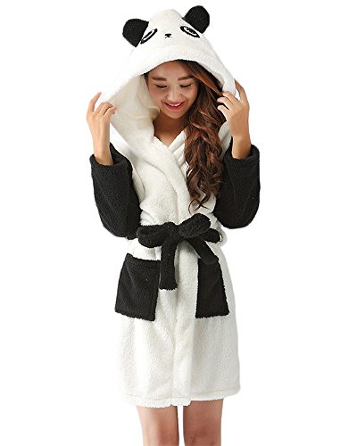 Bata para Estar por Casa Super Suave Pijama Ropa Longitud Completa con Capucha Albornoz Panda S