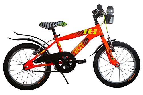 Bicicletta Bambino 16' Doublezz zBoy Bici Mountain Bike per Bimbo con parafango (Arancione)