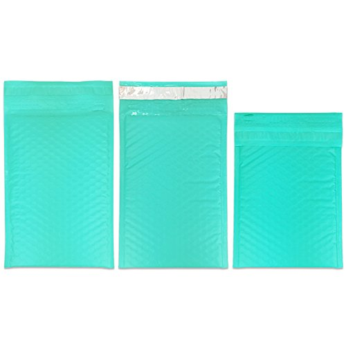 """Beauticom TEAL (50 Pieces) #000, 4""""x8"""" Self-Seal Poly Bubble Mailer Envelopes Eco Friendly Lightweight Made In The USA Photo #3"""