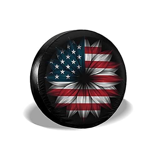 Suminla-Home Cubierta de repuesto para neumáticos de bandera americana y girasol, resistente al polvo, universal para llantas de repuesto para remolques, RV, SUV y muchos accesorios para vehículos