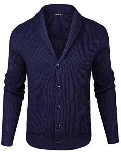 Sykooria Herren Strickjacke Schalkragen Wolle Männer Cardigan Grobstrick mit V-Ausschnitt Blau, L