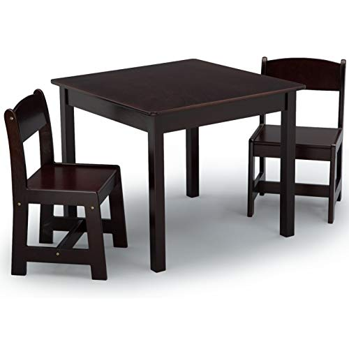 Delta Children MySize Wooden Table and Chairs Set for Kids, Dark Chocolate Brown