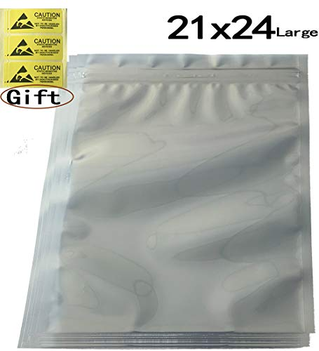 Daarcin 30pcs Large Anti Static Bags,Resealable ESD Bags 8.26x9.45in/21x24cm with Labels for Hard Drive SSD HDD and Electronic Device