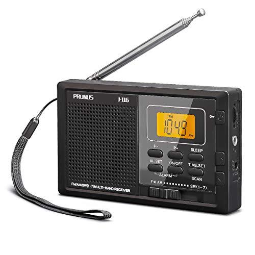 Radio Portátil Pequeña de Bolsillo Digital, PRUNUS J-116 Transistor Am FM SW DSP Radio de Batería con Temporizador de Apagado, Memoria Preestablecida, Tecla de Bloqueo, Reloj Despertador