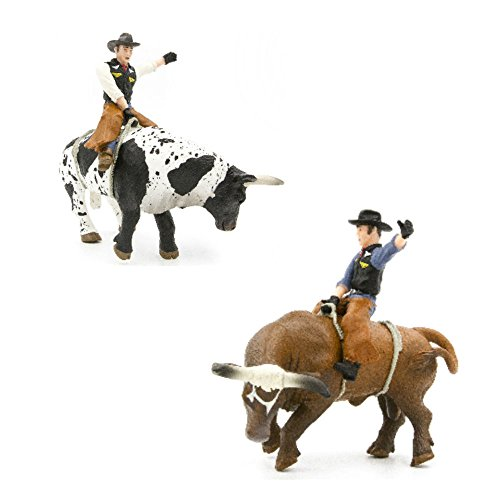 Rodeo Toys Playset – 2 Bucking Bulls and Riders Bull Riding Toys