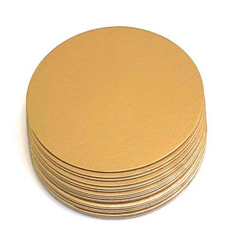 Rendibly Cake Boards 10 Inch Round Gold Die Cut Compressed Food Grade Cardboard Cake Circle Base, Ideal for 8 to 9 Inch Cakes, Pies, Pizza Circles, Pack of 20