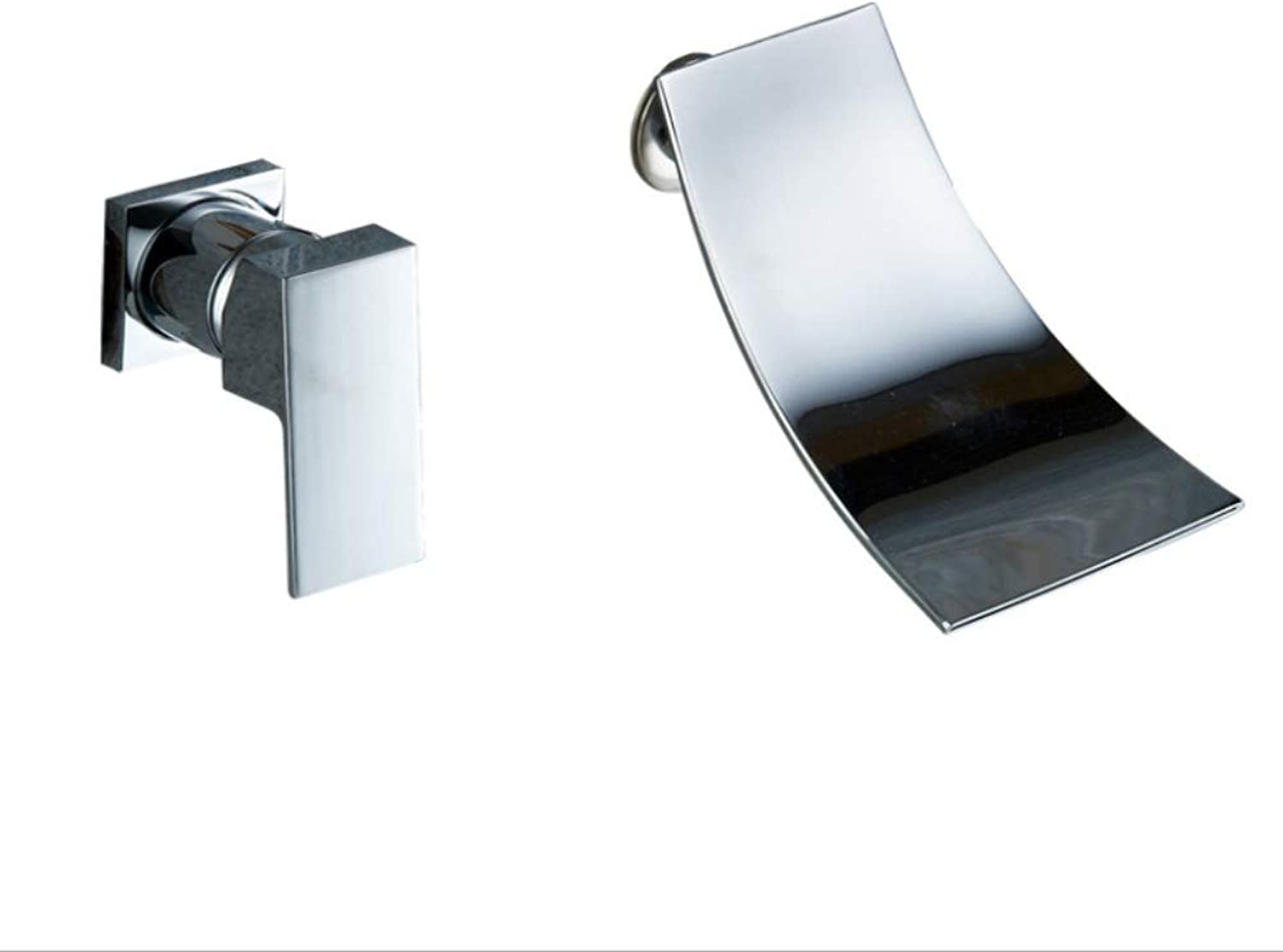 Bathroom Sink Basin Lever Mixer Tap Bathroom Bathtub, Face Basin, Mixing Faucet, Copper-Plated Chrome-Plated Wall, Single Double-Hole Basin, Waterfall Faucet