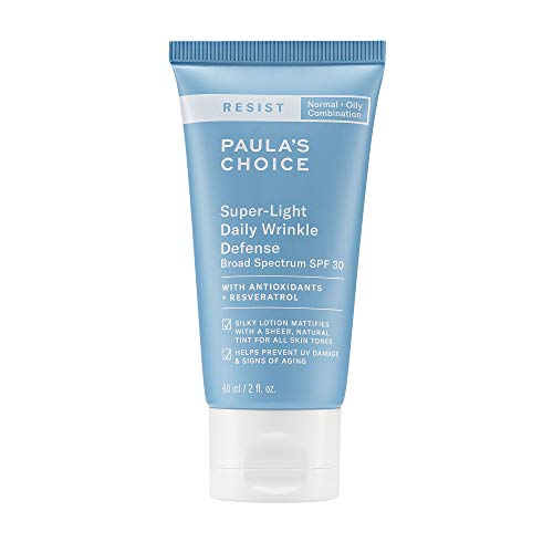 Paula's Choice RESIST Super-Light Daily Wrinkle Defense SPF 30 Matte Tinted Face Moisturizer with UVA & UVB Protection, Anti-Aging Mineral Sunscreen for Oily Skin, Fragrance-Free & Paraben-Free, 2 Ounce