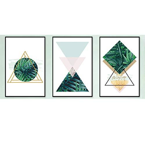 wsydd Moderne Belle Foglie Verdi Geometria Astratta Quadri su Tela Immagini per pareti Immagini Decorazioni per soggiorno-60x80cm Senza Cornice_Set 3 Pezzi