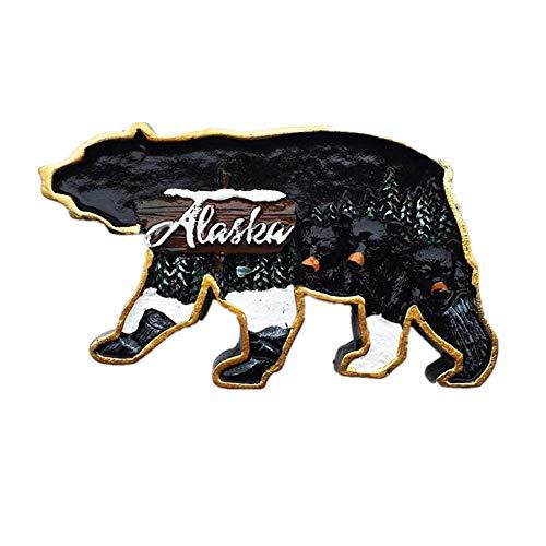 3D Alaska America USA - Imán para nevera con diseño de recuerdo