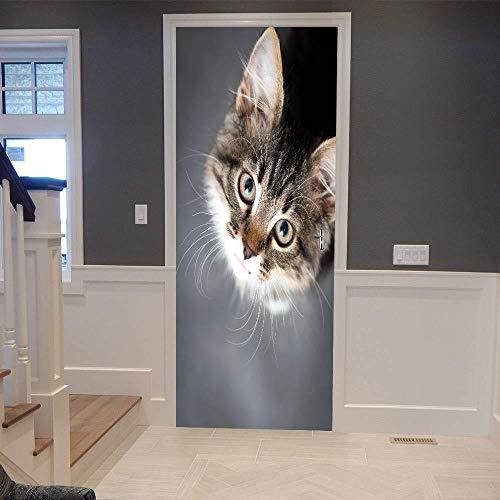 BXZGDJY 3D-deursticker, zelfklevend, met leuke dierenkat en afneembare deur, plakfolie, bloem, woonkamer, slaapkamer, kinderen, restaurant, kantoor, bar, deur, kunst decoratie 90x200cm