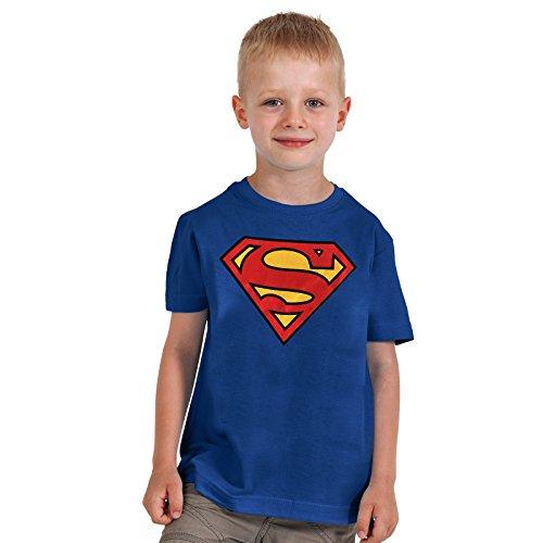 Superman - camiseta del escudo - para niños, con la licencia oficial, algodón, azul - S