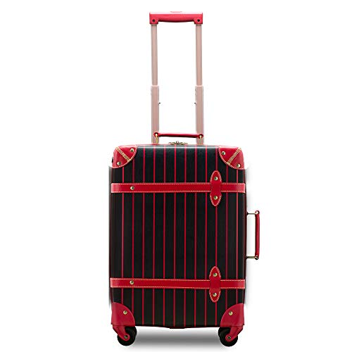 【Recess_リセス】【アウトレット】 トランクキャリー 超軽量 スーツケース ストライプ 100席未満機内持ち込み〜大型 ss s m l キャリーバッグ キャリーケース (SS-約21L 100席未満機内持込OK, ブラック/レッド)