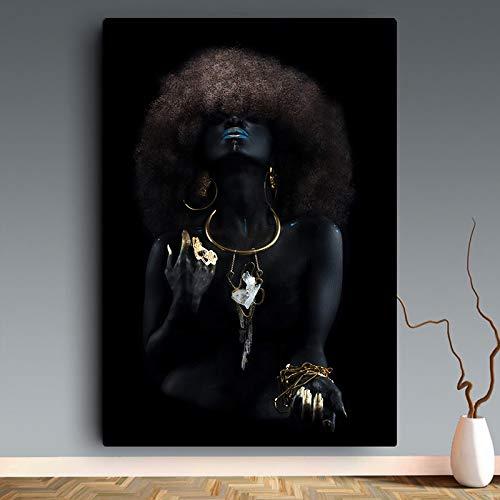 Black girl gouden nagellak print gemakkelijk stijlvolle art posters en prints voor huiskamer prints en moderne fotos B 40x60cm Geen lijst