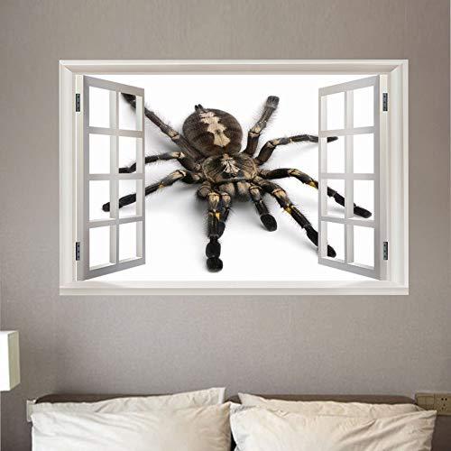 3D Wandtattoo Fenster Spinne Wandaufkleber Kunst Wandbild Poster Selbstklebende Wasserdichte Wand Stickers für Wohnzimmer Schlafzimmer Wanddekoration 50x70 cm
