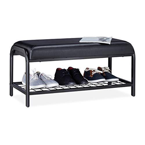 Relaxdays Schuhbank gepolstert, offenes Schuhregal mit Sitzfläche, Metall Flurbank für Schuhe, 40 x 85 x 40 cm, schwarz