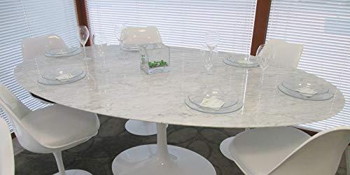 Mesa Tulip Eero Saarinen ovalada 199 x 121 mármol Carrara base blanca