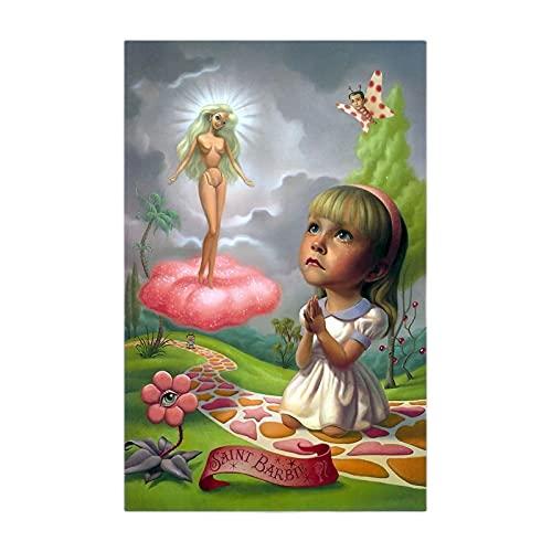 CBYLDDD Mark Ryden  Santa Barbie  Lienzo Arte Pintura al óleo Obra de Arte Cartel Imagen Moderna Decoración de la Pared Decoración de la Sala de Estar 16x24in Sin Marco