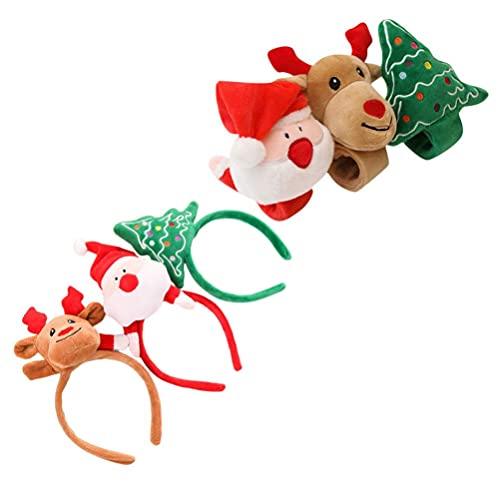 Bigbarry Impecable 6pcs Navidad Reinseer Astener Pulseras de Banda de Navidad con árboles de Navidad Patelus Pattern Pattern Compatible con Navidad Fiesta Niños Impresionante