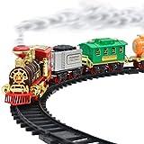 Fangteke Tren Juguete, Juego Tren Eléctrico para Niños Pista de Carreras de Coches de Juguete de Ferrocarril con Sonido Y Luz de Carro Regalo para Niños Juguetes de Bricolaje
