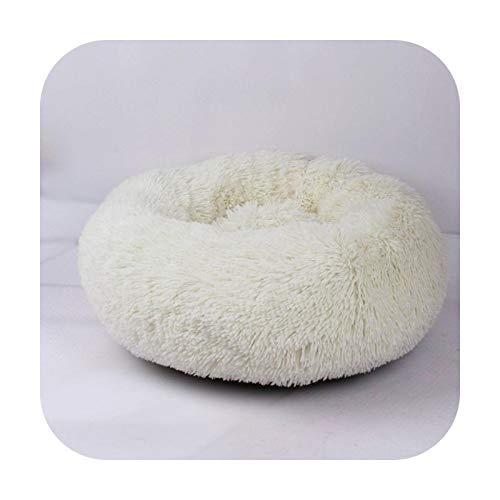 Canasta para cama de perro con canasto Hondenmand para mascotas y gatos, casa de pelo vegano, donut Cuddler camas para gatos pequeños y grandes, 100 cm, color blanco