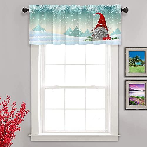 Shrahala Christmas Landscape Kitchen Valances Half Window Curtain, Christmas Gnomes Heat Insulated Kitchen Valance for Window Ink Printing Kitchen Valances Curtains for Kitchen Decoration 52x18 inch