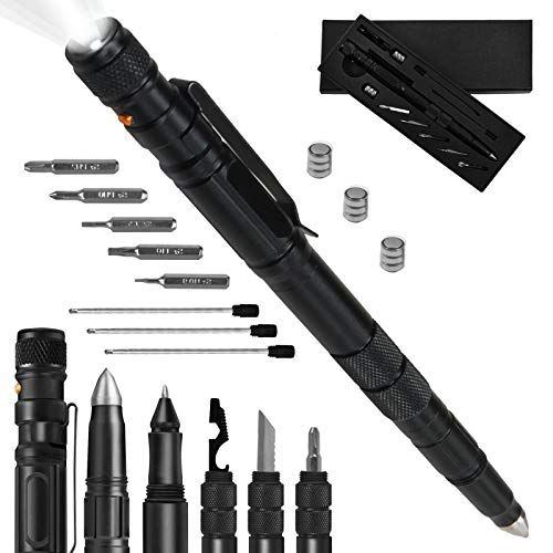 Tactical Pen, Gifts for Men, Multi-Tool of Tactical Flashlight, Cool Gadgets Pens for Men