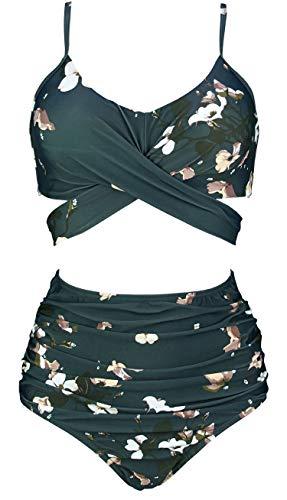 COCOSHIP Green Gables & Brown White Floral Vintage Ruched High Waist Bikini Set Criss Cross Push Up Swimsuit Bath Suit 8