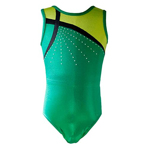 Girls Metallic Cross Bars Athletic Ballet Dance Tank Gymnastics Leotard Bodysuit Green Size 6