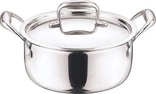 YESSW 1 olla de acero inoxidable con doble fondo para sopa, no magnética, utensilios de cocina multiusos antiadherente, para uso general (tamaño: 26 cm).