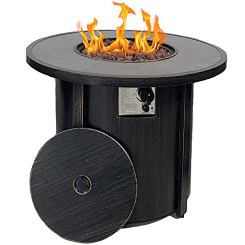 Summerville Propane Gas Fire Pit Table, 32' Round Gas Fire Pit 50,000 BTU Outdoor Backyard Smokeless Firepits Patio Heater with Lava Rocks,Protective Cover
