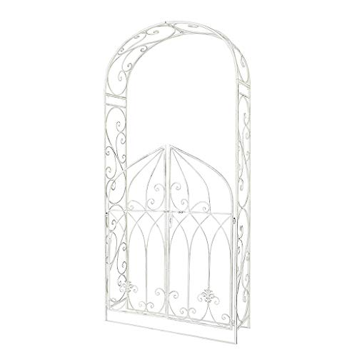QLLL Decorative Iron Art Garden Arch, With Gate Outdoor Climbing Plants Arch, Plant Support Pergola Gate Entrance Archway