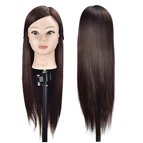 Testa di manichino con capelli sintetici per fare pratica con le acconciature e per cosmetica, 65 cm, con incluso morsetto per fissaggio