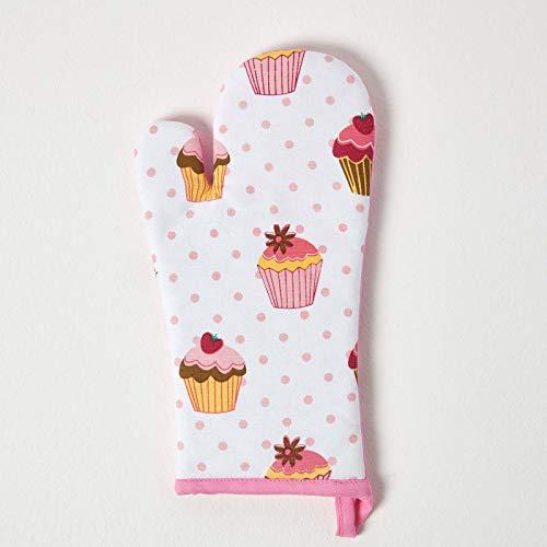 Homescapes – Pur Coton – Gant de Cuisine - Petits Gâteaux – Rose Bleu – 18 x 32 cm - Linge de Cuisine Entièrement Coordonné et Lavable