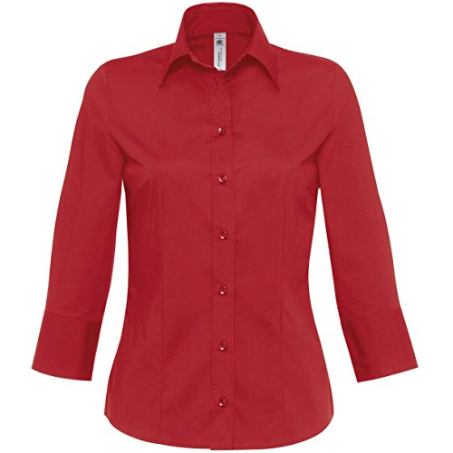 B&C Damen Popelin-Hemd / Hemd Milano, 3/4-Arm (2XL) (Dunkelrot)