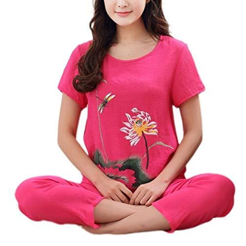 JFCDB Nachthemd Dames zomer plus size pyjama setLotus bloemenprint korte mouw tops Capri broek losse nachtkleding loungewear XL-4XL, HP, XL