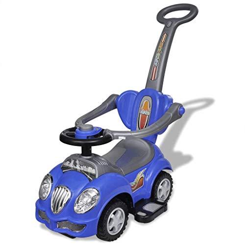 vidaXL Coche Correpasillos con Mango de Empuje Azul Vehículo de Juguete Niños