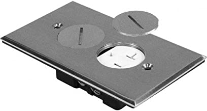 Orbit Industries FLB-R1G-C-SS Round Plug Type Floor Box Cover Only with Duplex Receptacle, Tamper Resistant, Stainless Steel