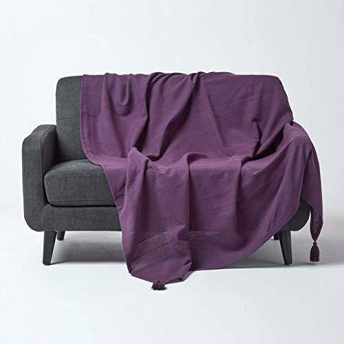 Homescapes Tagesdecke Rajput, lila, Wohndecke aus 100% Baumwolle, 150 x 200 cm, Sofaüberwurf/Couchüberwurf in RIPP-Optik